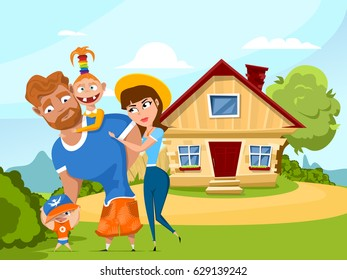Happy family in the background of his summer cottage. Father, mother, son and daughter together outdoors. Vector illustration