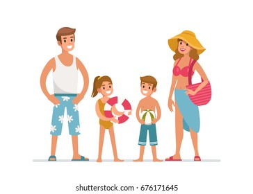 Happy family at the beach. Flat style vector illustration isolated on white background.