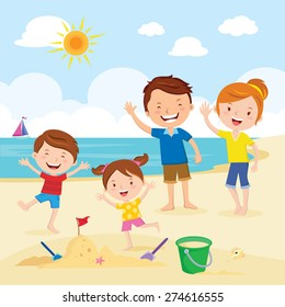 Happy Family At The Beach Having Fun