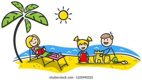 Happy family at the beach. Summer holiday. Stick figures drawing