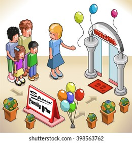 Happy family being welcomed at an open door entrance with balloons, floral decoration and special family offer sign (isometric view)