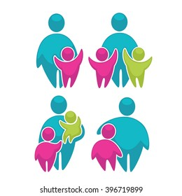 happy family in bright color, vector logo concept collection