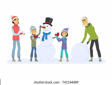 Happy family builds a snowman - cartoon people characters illustration on white background. Concept of winter activity, New Year, Christmas. Smiling mother and father with children play outdoors