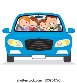 Happy family in the car. Vector illustration of family with the children driving in a blue car. Isolated.