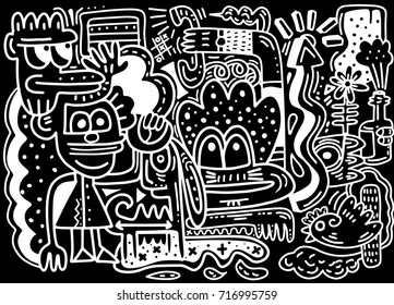 Happy of family cartoon character , Doodle hand drawing style,Vector illustration