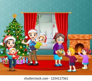 Vector Illustration Happy Kids Living Room Stock Vector Royalty