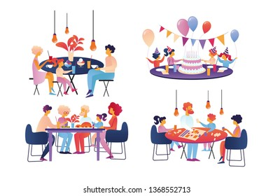 Happy Family Celebration and Sparetime Set Isolated on White Background. Parents and Kids Celebrate Anniversary, Birthday, Visiting Cafe, Meeting Grandparents, Playing Cartoon Flat Vector Illustration