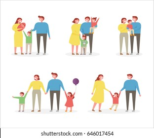 happy family character vector illustration flat design
