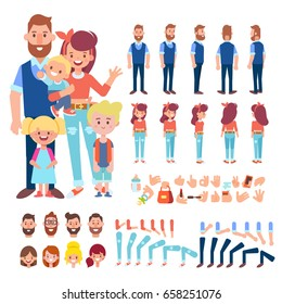 Happy Family Characters - mom, dad and children. Front, side, back view animated characters. Cartoon style, flat vector illustration.