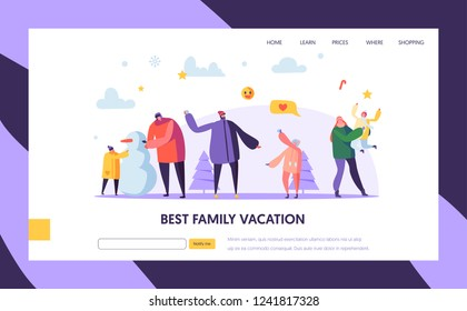 Happy Family Characters Playing Snowball on Winter Holidays Landing Page Template. Mother, Father and Kids Playing Snowballs for Website or Web Page. Vector illustration