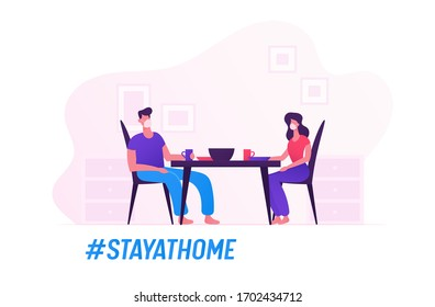 Happy Family Characters Wear Medical Masks Eating Together Staying at Home during Covid19 Quarantine Self Isolation. Couple Sitting at Table on Kitchen Having Meal. Cartoon Vector People Illustration