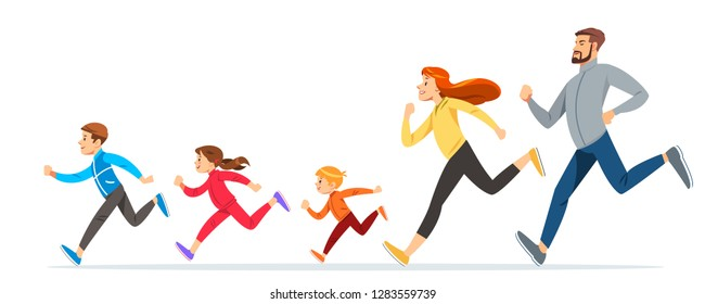 Happy Family with children running or jogging for sport and better fitness in summer. Good relations in family. Basic healthy care for people. Illustration for advertise running sport.