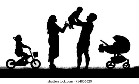 Happy family with children silhouette