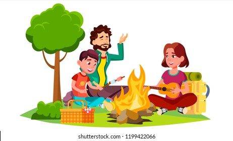 Happy Family With Children Sitting Around The Campfire Vector. Isolated Illustration