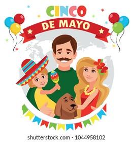 A happy family. Cinco de Mayo. Vector illustration.