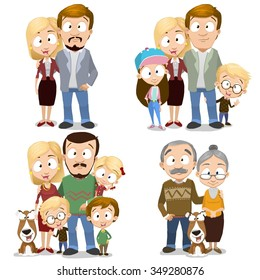 Happy family collection, Very adorable big family characters set. Family members isolated on white background. Family including grandparents and even dog. Happy family portrait.