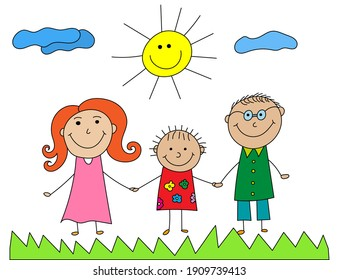 Happy family colorful kids doodle. Kid drawing with family. Illustration of happy cartoon family with child. Vector image of happy family, sun, grass and clouds