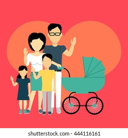 Happy family concept banner design flat style. Young family man and a woman with a son and daughter and a stroller for a newborn. Mother and father with child happiness lifestyle, vector illustration
