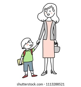 Happy family concept with cute little boy holding his parent's hand and smiling to each other. Schoolboy going to kindergarten with his working mother.  Vector illustration with hand-drawn style.