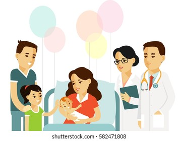 Happy family concept in flat style isolated on white background. Young mother with newborn baby, father, daughter, doctor and nurse in hospital ward