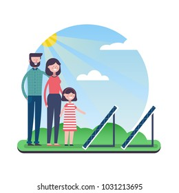 Happy family concept illustration for environment conservation. Mom and dad teach daughter about renewable energy with solar panels. EPS10 vector.