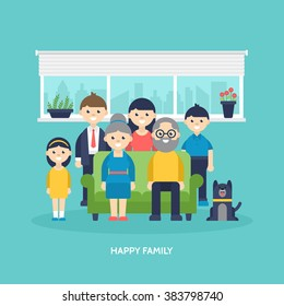 Happy family concept. Parents, kids and grandparents together at home. Vector illustration