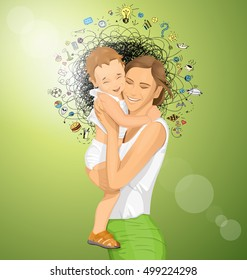 Happy family concept. Vector woman with child. Vector cute family