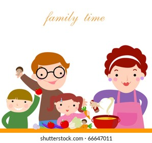happy family cooking together