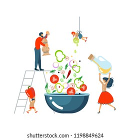 Happy family cooking together a salad concept. Poster, banner template for cooking master class in flat. Dad, mom, daughter, son enjoys of cookery. Vector illustration eps 10