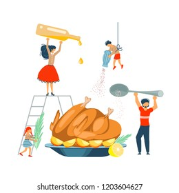 Happy family cooking together a turkey for thanksgiving day concept. Poster, banner template for cooking master class in flat. Dad, mom, daughter, son enjoys of cookery. Vector illustration eps 10