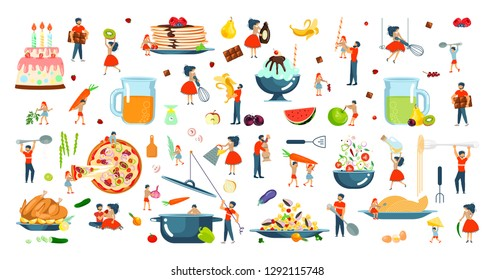 Happy family cooking together a turkey for thanksgiving day set. Poster, banner template for cooking master class in flat. Dad, mom, daughter, son enjoys of cookery. Vector illustration eps