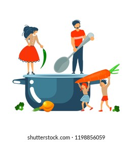 Happy family cooking together a vegetable soup concept. Poster, banner template for cooking master class in flat. Dad, mom, daughter, son enjoys of cookery. Vector illustration eps 10