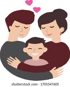 HAPPY FAMILY COUPLE WITH A CHILD. VECTOR ILLUSTRATION