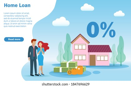 Happy family couple, husband and wife infront of beautiful house with 0% interest rate. Idea for home loan, refinance house or estate mortgage.