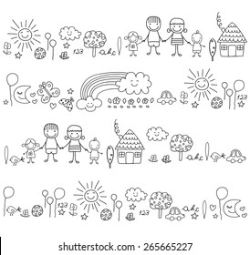 happy family and cute nature elements