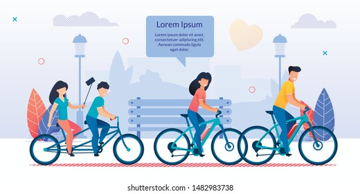 Happy Family Cycling Together in City Park. Mother, Father Riding Bicycles, Children Driving Tandem Bike. Girl Doing Selfie. Mom Talk to Relatives. Sport, Healthy Lifestyle. Vector Flat Illustration
