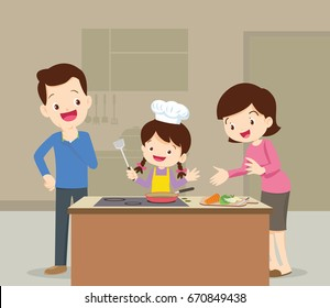 happy family with dad ,mom ,daughter cooking in kitchen vector cartoon illustration
