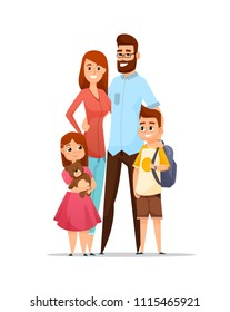 Happy family. Dad, mom, son and daughter together. Vector illustration in cartoon style
