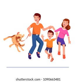 Happy family dances together with dog. Exited man, woman, boy & dog jump together. Smiling father, mother, son and puppy have fun. Flat vector clipart isolated cartoon character illustration on white