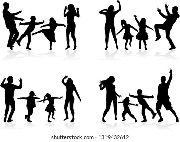 Happy family. Dancing silhouettes.