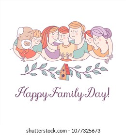 Happy family day.  Mom, dad, kids, grandma, grandpa. The framing of the branches. On the branch birdhouse. Symbol of home and family. Vector illustration.