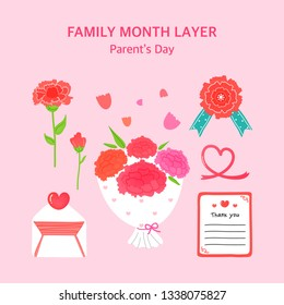 Happy Family Day vector illustration set.\t
