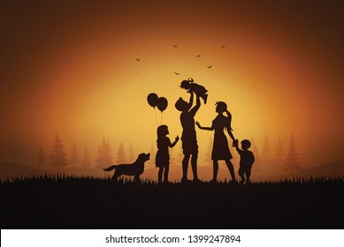 Happy family  day,father mother and children silhouette playing on grass in sunset.