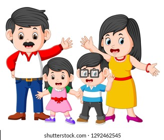 the happy family is doing posing with the good expression