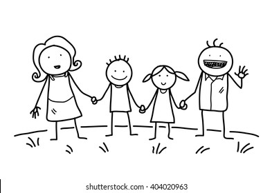 Happy Family Doodle, a hand drawn vector doodle illustration of a happy family holding hands together.