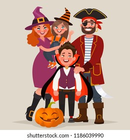 Happy family dressed in costumes, celebrates Halloween. Vector illustration in cartoon style
