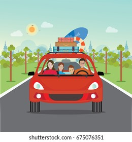 Happy family driving in red car on weekend holiday, Planning summer vacations, Travel by car, Summer holiday,Tourism and vacation theme. Flat design vector illustration.