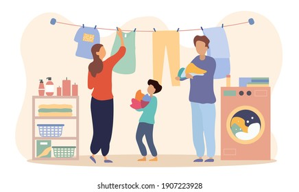 Happy family is drying clothes together. Dad and son are holding wet colorful laundry while mother hangs it. Flat cartoon vector illustration