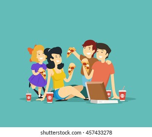 Happy family eating pizza. Vector illustration.