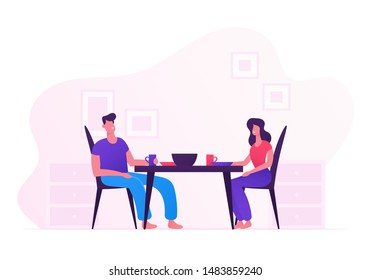 Happy Family Eating Together at Home. Young Loving Couple Man and Woman Sitting at Table on Kitchen Having Tasty Meal. Love and Human Relations, Romantic Dinner. Cartoon Flat Vector Illustration